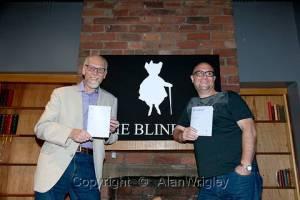 "Bob Horne and Steve Ely presenting Steve's pamphlet ""Werewolf"""